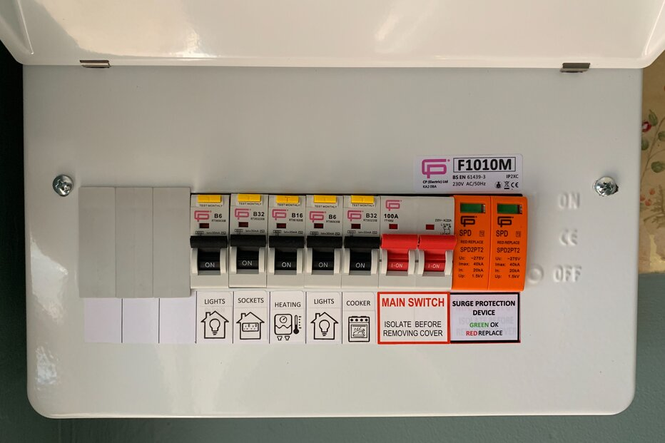 New fuse box including surge protection.